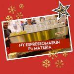 Nu har vi en ny espressomaskin på Materia, kom och prova om du märker någon skillnad på kaffet, vi tycker att det blivit en aningen rundare och lite godare.